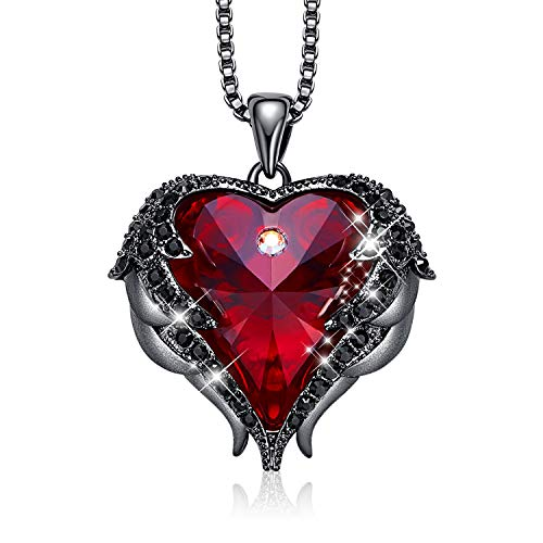 CDE Angel Wing Pendant Necklace White Gold Plated Women Jewelry Heart of Ocean Embellished with Austrian Crystals Necklaces Valentine's Day Jewelry Gift for Women Mom Her