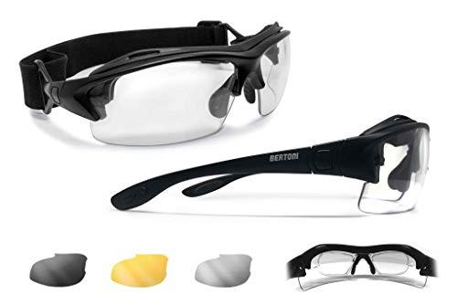 BERTONI Sportbrille mit Sehstärke für Brillenträger Antibeschlag UV Schutz Gläsern und mit Austauschbare Bügel oder Kopfband (Matt Schwarz - 3 Brillengläser)