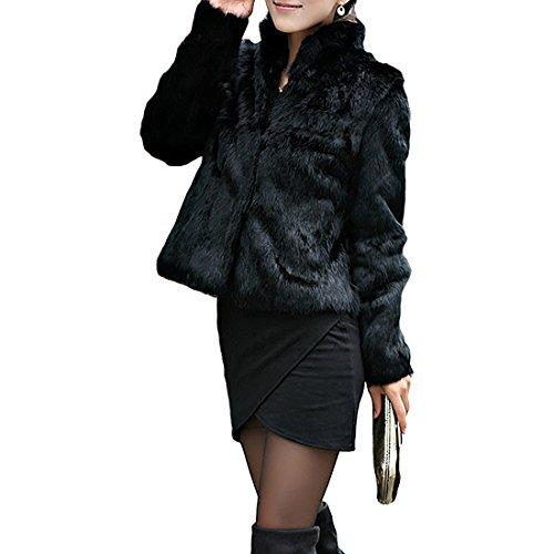 Femmes Hiver Manteau de Fourrure Noire à Manches Longues en Fausse Fourrure vêtements d'extérieur Dame Style Court Veste de Fourrure XXL