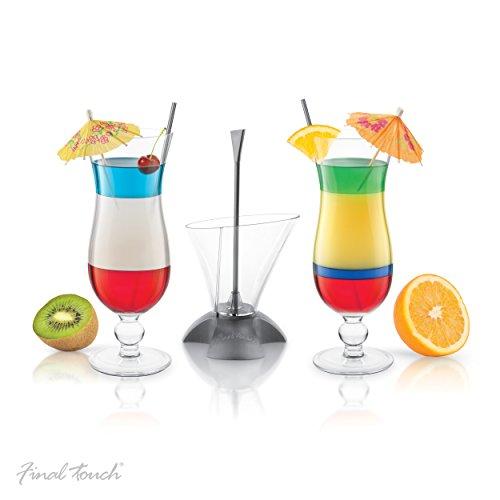 Final Touch Cocktailset, 3-delig, met Rainbow-Cocktail laag hulp en 2 Hurricane-glazen, in geschenkdoos, voor meerlaagse dranken, CD3163