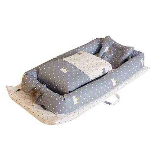Miyanuby Cama Nido de Bebé Recién Nacido | Reductor Protector de Cuna Cama de Viaje | Cuna Portatil | Bebé Desmontable Cocoon Pod Dormir | Cuna de Bebe + Edredon + Almohada - 3PCS | Regalo Bebe