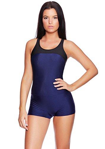 Versandhandel Henry Musch-Malinowski Schwimmer Badeanzug Monokini Sportlich Chic Einteiler f5406 Farbe: BA10(ma-sw) Badeanzug Navy/Black, Gr. 40 (M)
