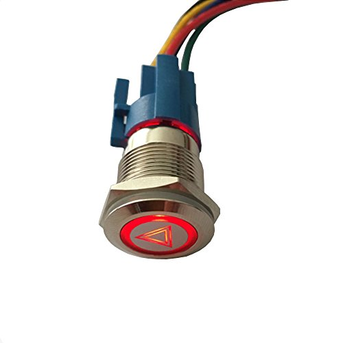ESUPPORT 12V Car Vehicle Red LED Light Emergency Hazard Warning Push Button Metal Toggle Switch Socket Plug 19mm