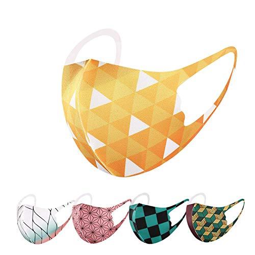和柄 子供用 マスク 洗える 3D 立体 市松模様 麻葉文様 鱗文 亀甲 蝶 鬼 滅 刃 子供用マスク 和柄マスク 【3枚・5枚セット】 (麻葉模様(ピンク)×3, 3枚セット)
