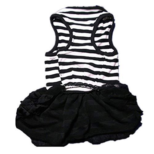 YYMMQQ Haustierkleidung Mode Hundebekleidung Haustier Hundebekleidung gestreiften T-Shirt Rock Welpen Prinzessin Kleid Bergbau, schwarz, S