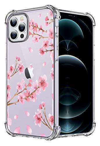 HEYORUN Cherry Blossom Clear Case Compatible for iPhone 12 Pro Max 6.7 Inches 2020, Cherry Blossoms Girls and Women Back Cover, Soft TPU Bumper Shockproof Protective Case