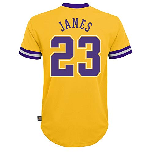 Outerstuff NBA Boys Youth 8-20 Short Sleeve Player Name & Number Performance Jersey (Youth Large 14-16, Lebron James Los Angeles Lakers)