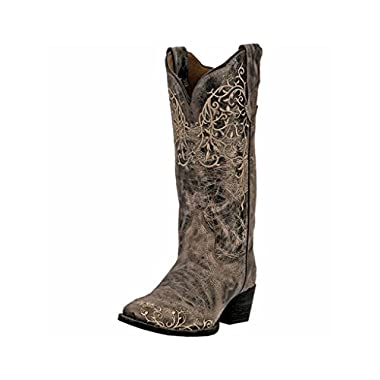 Laredo Womens Taupe Jasmine Leather Cowboy Boots 12in Vine 7 M