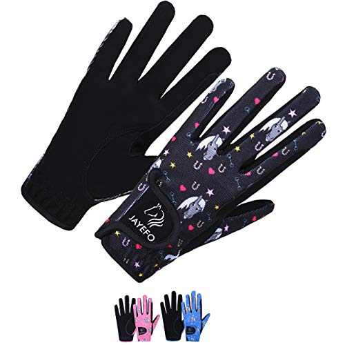 Jayefo Kids Horse Riding Gloves (Black, Age 8-10 Years)