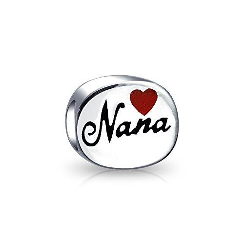 Bling Jewelry Casa De Familia La Abuela Nana Corazón Rojo Oval Abalorio Encanto para La Mujer Adolescente 925 Encaja Pulsera Europea