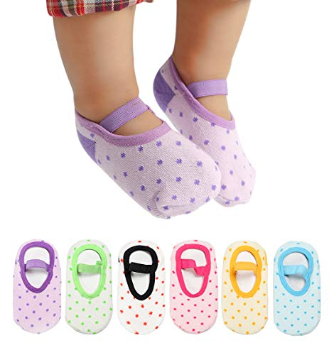 Dicry Baby Girls Non Slip Socks with Grip Toddler Anti Skid Walking Mary Jane Socks with Strap (12-36 Months, 6 Pairs Dots)