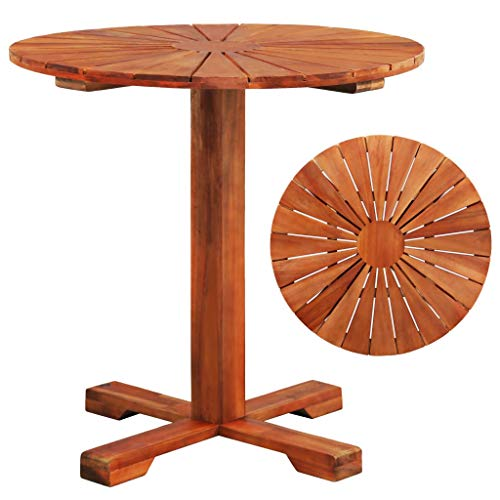 vidaXL Bois d'Acacia Massif Table sur Pied Rond Terrasse Table de Jardin