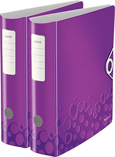 Leitz Qualitäts-Ordner 180° Active WOW, A4, Runder Rücken, 8,2 cm Breite, Kunststoff, Gummibandverschluss (2er Pack, violett metallic)