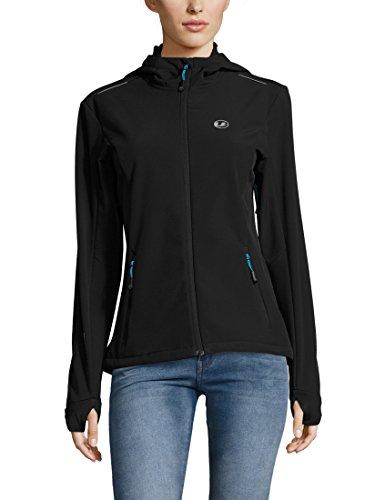 Ultrasport Advanced Chaqueta softshell para mujer Tina, chaqueta funcional moderna, chaqueta outdoor, Negro/Turquesa, XL