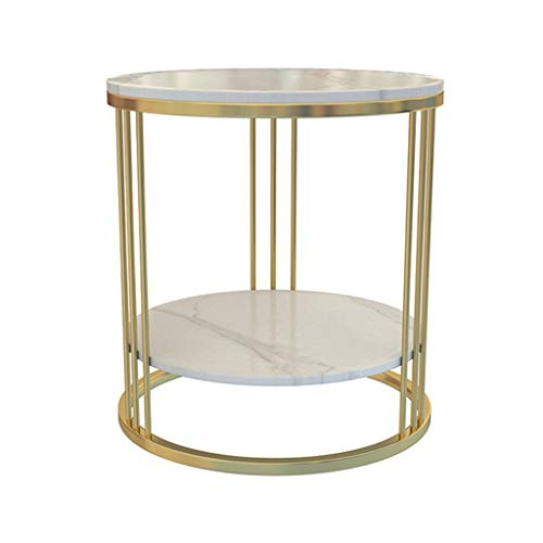 ZRN Side Table, Round End Table with 2 Shelves, Living Room, Bedroom, Easy Assembly, Marble and Metal, Modern Design, White + Gold
