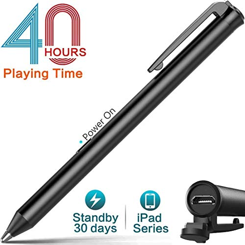 Heiyo ipad active stylus-capacitive digital pen supporting 40-hour playing time 30-day stand-by 120-second auto power off with 3 replaceable fine point rubber tips touchscreen styli pencil for ipad