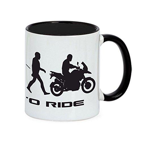 Siviwonder Tasse Schnabeltier EVOLUTUION AFFE Motorrad Fun Kaffeebecher