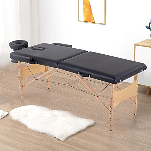 Massage Table Folding Massage Bed Portable Lash Bed Lash Extension Table 2 Folding 84 Inches Long Height Adjustable Salon Spa Bed with Carry Case