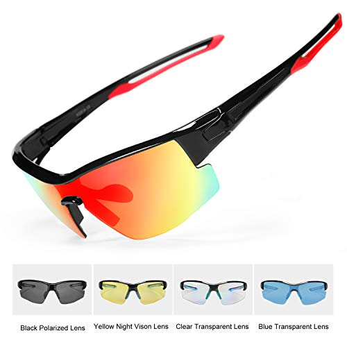 INBIKE Gafas Ciclismo Hombre Polarizadas Con 5 Lentes De Pc Intercambiables y Montura De TR90, Gafas Uv400 (armadura rojo negro + lentes de colores)