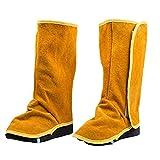 Soldadura polainas de cuero de vaca de Altas Prestaciones Cubiertas del zapato de cuero de llama Spats 1Pair Equipo de Protección Personal de soldadura resistente