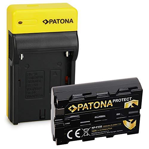 PATONA Estrecho Cargador con Protect Bateria NP-F550, Carcasa V1 Compatible con Sony NP-F950 NP-F930 NP-F750 NP-F730