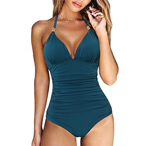 RXRXCOCO Damen-Badeanzug, V-Ausschnitt, einteilig, Bauchkontrolle, gerüschte Bademode -  blau -  X-Large
