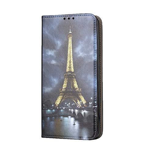 KX-Mobile Hülle für Samsung A41 Handyhülle Motiv 394 Eifelturm Paris Frankreich bei Nacht Blau Gelb Premium Smart aus Kunstleder einseitig Bedruckt HandyCover Handyhülle für Samsung Galaxy A41 Hülle