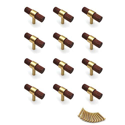 Schubladenknäufe, 12 Stück, für Kommoden, Schubladen, 50 mm Länge, Walnussholz-Knöpfe