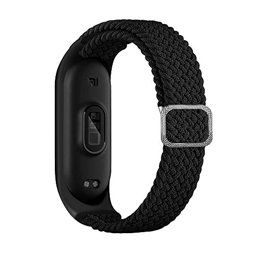 BoLuo Bracelet Compatible avec Xiaomi Mi Band 6,Nylon Braided Stretch Solo Loop Bracelets Montre,Silicone Bande Sport Remplacement Sangle pour Xiaomi Mi Band 6 5 4 3 Watch Accessories (gris)