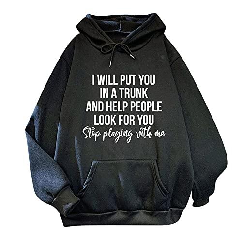 Cloodut Damen Skateboard Bedruckt Übergroße Sweatshirt Männer Und Frauen Hoodies Plus Size Warm Pullover Drawstring Top Mit Taschen(Schwarz,XL)