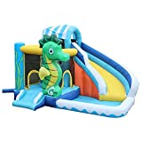 FGVDJ Kinder Bounce Castle House Aufblasbarer Trampolin-Korb mit Inflator für 3-12 Jahre, Indoor...