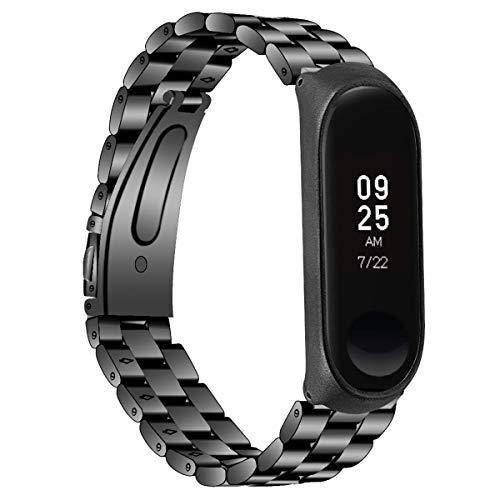 Preisvergleich Produktbild iFCOW Ersatz-Uhrenarmband,  Edelstahl-Uhrengehäuse,  Band für Xiaomi Mi Band 3 / 4