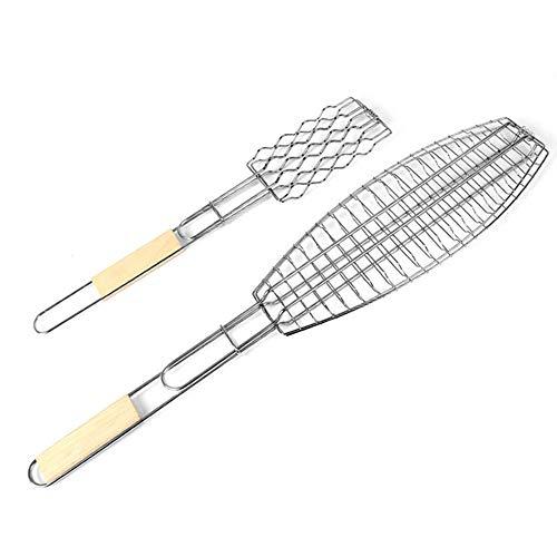 Angela Outdoor-Campingzubehör Grillrost - plattierter Stahl Antihaft-Grill-Fisch-Clip Grill-Schinken-Werkzeug-Picknick-Set 2 - Holzgriff - für eine Vielzahl von Lebensmitteln