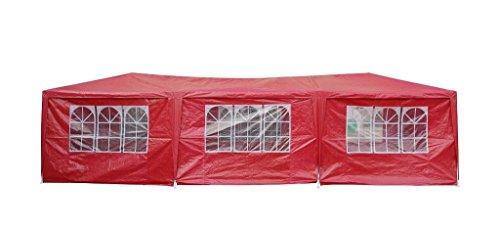 Festzelt 9x3 m Partyzelt mit 8 Seitenwänden Rot Gartenzelt Wasserabweisend Pavillon Duhome 5018