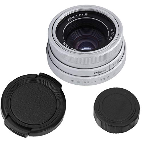 広角レンズ、25mm F1.8 Mini CCTV C Mount Wide Angle Lens for Sony Nikon Canon DSLR(銀)