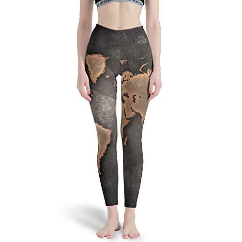 YOUYO Spark Pantalones de yoga Wor-ld Map Cómodo Transpirable Durable - Pantalones para correr