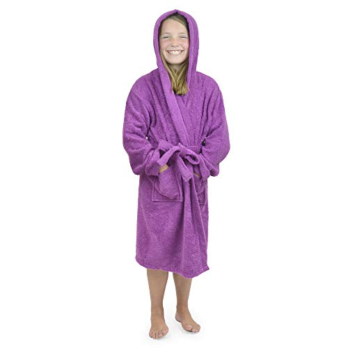 CityComfort Kinder Morgenmantel Kinder Jungen Mädchen Kapuzen Frottee Bademantel 100% Baumwolle Terry Handtuch Bademantel Soft Frottee Lounge Wear 7-13 Jahre (11-12, Orchidee)