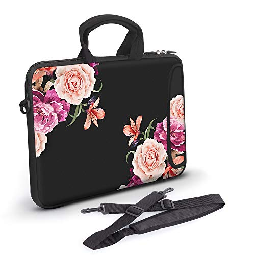 Anyshock Ultraportable Water-Resistant Neoprene Laptop Shoulder Bag Carrying Case Sleeve with Handle Extra Pocket Messenger Computer Bag Compatible 13-13.3 inch MacBook Air Pro, HP