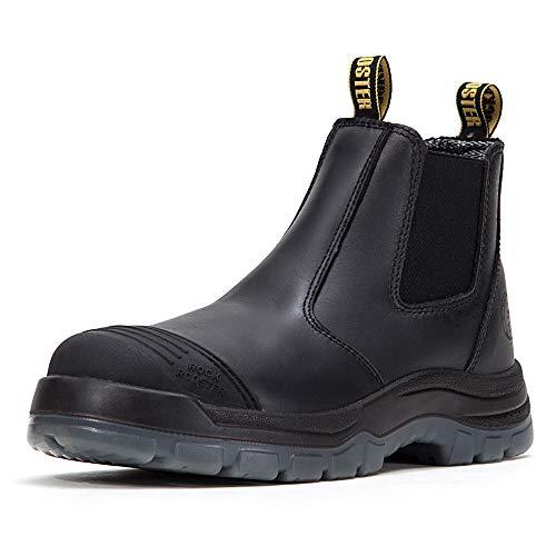 ROCKROOSTER S1 buty ochronne z krótkim trzonkiem Chelsea męskie damskie, buty robocze ze stalowym podnoskiem ESD, szerokie stopy, prawdziwa skóra, lekka, czarna EU 44