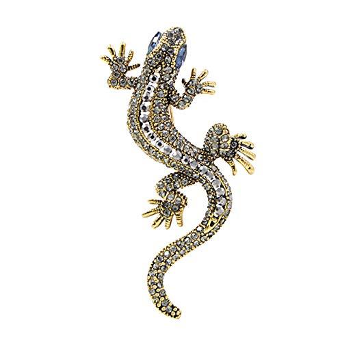 RWJFH Broche Diamante de imitación Color Azul Broches Verdes Joyería de Moda Estilo Animal Pin Vintage Regalo, Azul Dorado