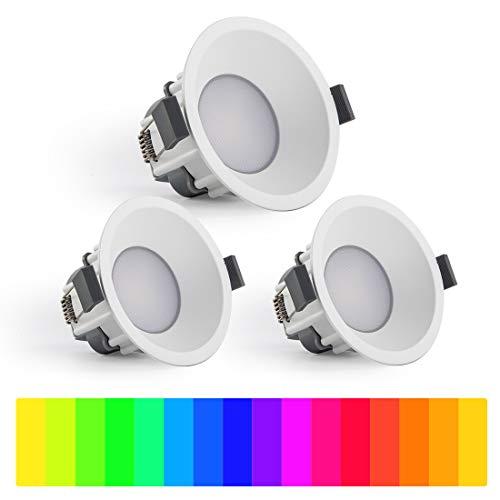 LUTEC 3 paquetes de luces LED empotrables de techo 7,7 W, control de aplicación regulable y cambio de color foco para interiores, Downlights equivalentes para sala de estar, dormitorio, cocina