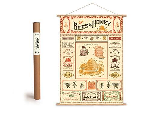 Cavallini Vintage Poster Set mit Holzleisten (Rahmen) und Schnur zum Aufhängen, Motiv Bienen, Honig