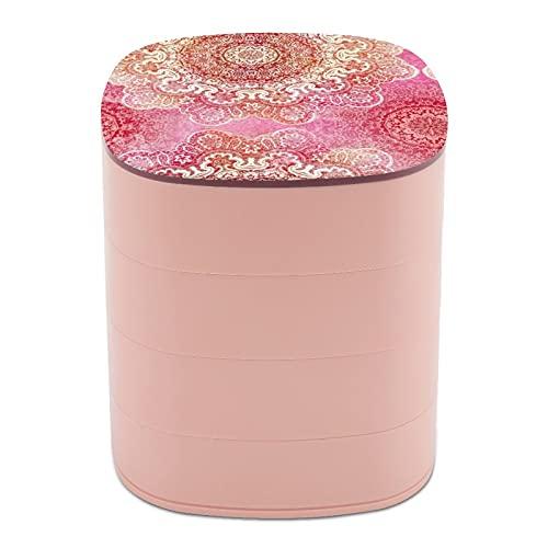 Joyero organizador redondo de 4 capas, giratorio de 360 grados, organizador para joyas, para anillos, pendientes, collares, pulseras, cuerda de pelo, regalo para niña, madre, mandala de cachemira rosa