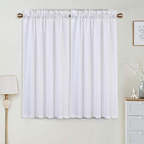 Haperlare Waffle-Weave Tier Curtains for Living Room, Thick Fabric Short Bathroom Window Curtain, Rod Pocket Window Kitchen Cafe Curtains, 30' x 45', White, Set of 2