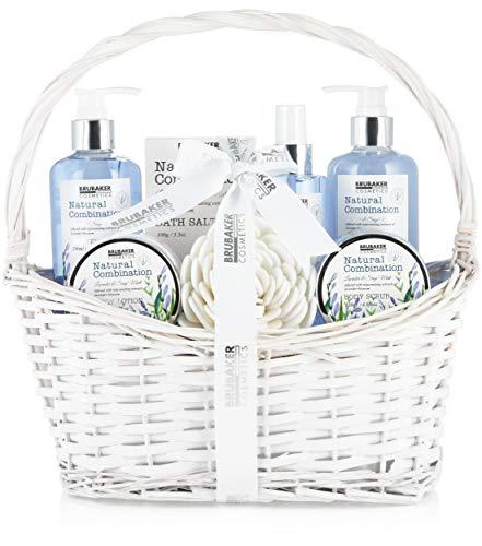 BRUBAKER Cosmetics Beauty Pflegeset - mit Lavendel & Salbei Minze Extrakten - Geschenkset im Henkelkorb