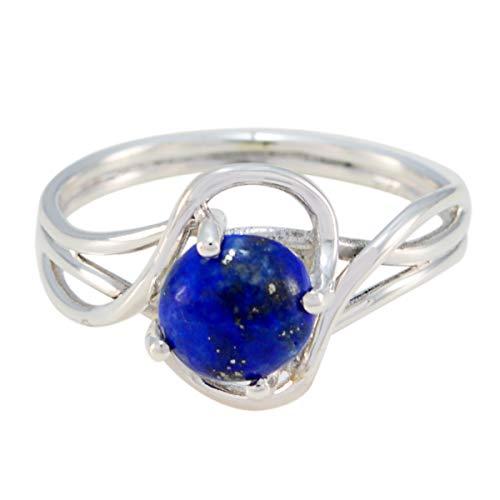 Joyas Plata natürlichen Edelstein runde Form ein Stein Cabochon Lapislazuli Ringe - Sterling Silber blau Lapislazuli Ring - Oktober Geburt Waage Astrologie natürlichen Edelstein Ring