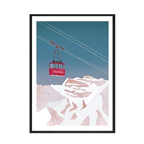 Póster de esquiador de ciervo de montaña de nieve, lienzo de estilo moderno, impresión artística, pintura de lienzo decorativa sin marco familiar A 40x60cm