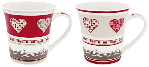Générique 3014Duo Tazas Corazones Regalo, Porcelana H. 10.5x D. 8cm, cerámica, Rojo, Gris, 27x 11x 10cm