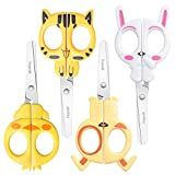 Asdirne Kid Scissors, Children Scissors, 4 Pack Toddlers Scissors Set, Cute Safety Scissors Including Shape of Bunny, Tiger, Puppy and White Rabbit, 14 cm