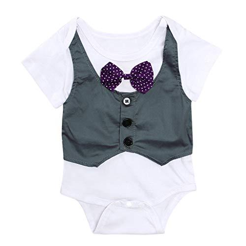 TEFIIR Neugeborenes Baby Baby Kind Mädchen Jumpsuit Jacke Gentry Strampler Outfits Kurzarm Jumpsuit Weste Harmony Gentleman Outfit (0-24M)